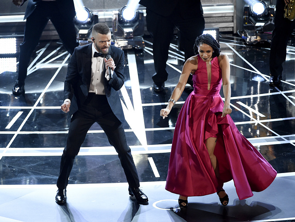 "Justin Timberlake performs songs from best original song nominee ""Can't Stop the Feeling,"" from ""Trolls"" at the Oscars"