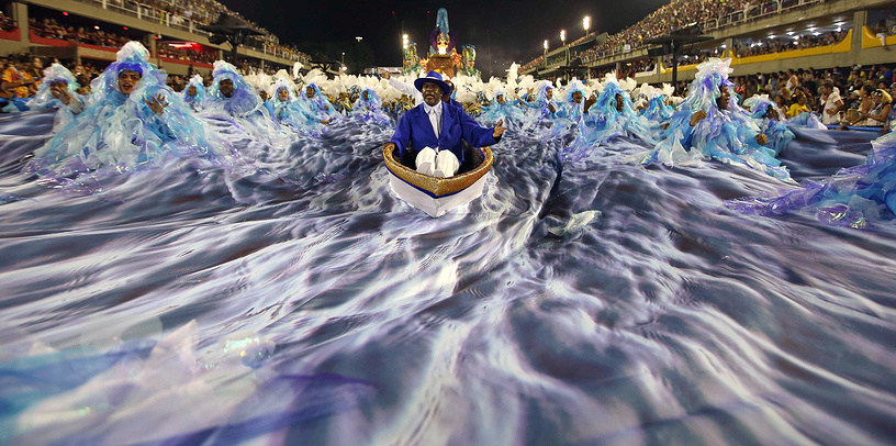 Members of the Group Especial Portela Samba school perform during a carnival parade at the Sambodromo in Rio de Janeiro, Brazil,  February 27