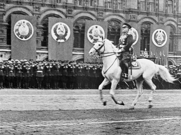 Soviet Marshal Georgy Zhukov on horseback during a Victory Parade in Red Square, 1945