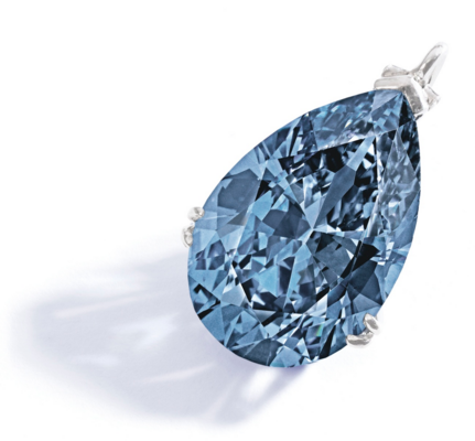 The pear-shaped Fancy Vivid Blue diamond weighing 9.75 carats was sold at Sotheby's in New York for $32.6 mln. The gemstone was purchased by a Hong Kong resident who named it Zoe Diamond.