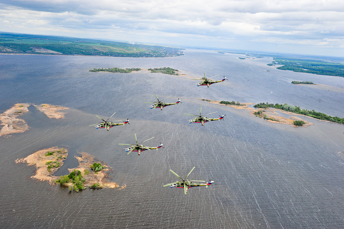 The Berkuts (Golden eagles) aerobatic team of the Russian Air Force fly Mi-28N attack helicopters