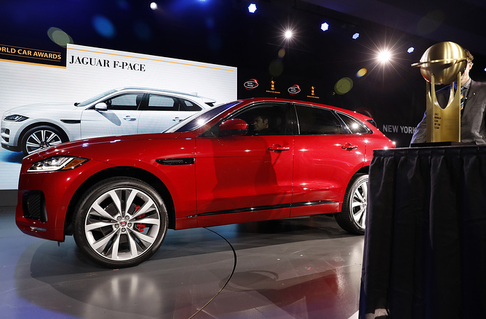 Jaguar F-Pace on the stage after winning the 2017 World Car Award within the New York International Auto Show at the Jacob K. Javits Center in New York