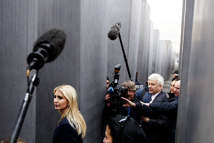 Ivanka Trump walks among steles at the Memorial to the Murdered Jews of Europe, also called the Holocaust Memorial, in Berlin