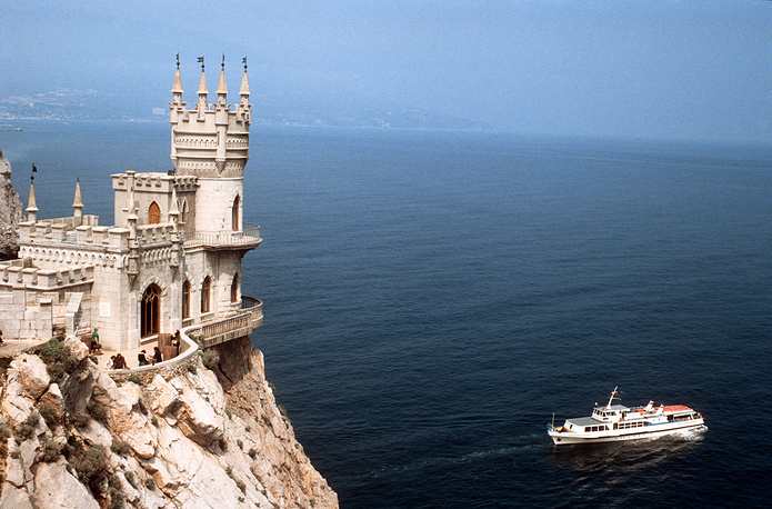 A view of the Swallow's Nest Castle, built on top of Aurora Cliff at Gaspra, a small spa town between Yalta and Alupka, in the Crimean Peninsula