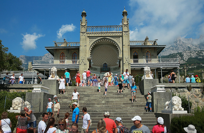 Vorontsov Palace at the foot of the Crimean Mountains near the town of Alupka