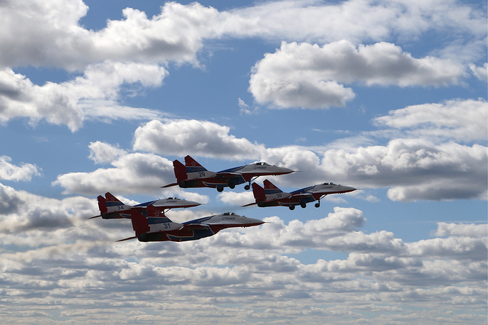 Mikoyan MiG-29 fighter jets of the Strizhi aerobatic team