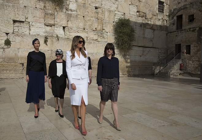 Ivanka and Melania Trump visit the Western Wall in Jerusalem's Old City