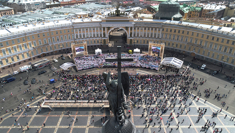 St. Petersburg mass choir gives a concert to mark Day of Slavic Written Language and Culture, in St Petersburg's Palace Square, Russia, May 24