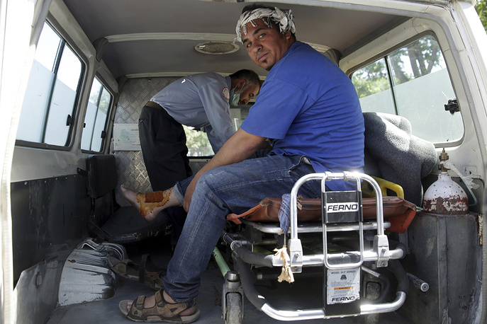 A wounded cameraman from 1TV channel, a local TV channel