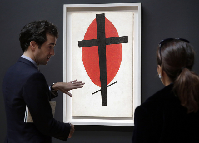 "Kazimir Malevich's ""Mystic Suprematism"" (Black Cross on Red Oval) was sold for $37.8 million in 2015"