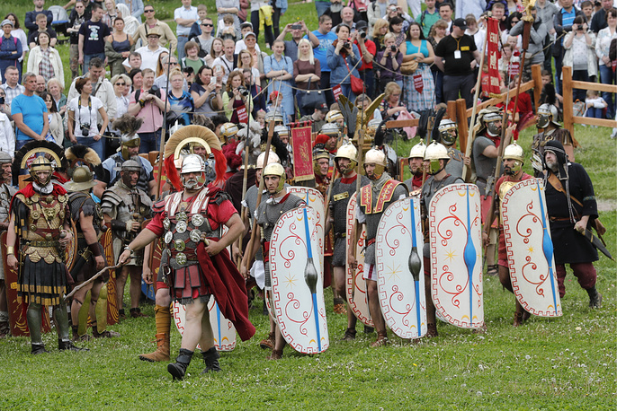 "A historical reenactment at the ""Ancient Rome and Its Neighbours"" venue in Moscow's Kolomenskoye park"