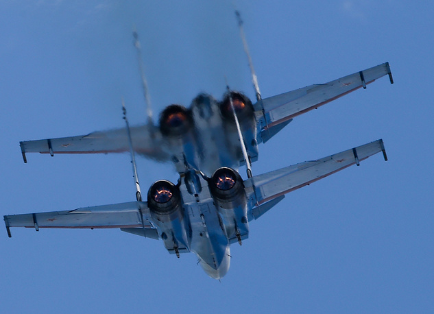 Sukhoi Su-30SM fighter jets of the Russkiye Vityazi [Russian Knights] aerobatic team