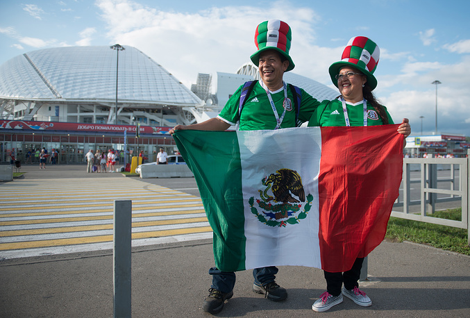 Mexico's fans waving a national flag by Fisht Stadium ahead of the 2017 FIFA Confederations Cup Group A match against New Zealand