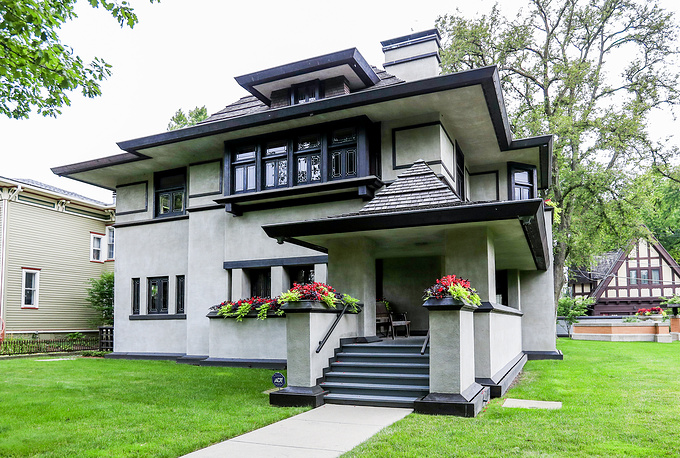 A view of the Edward R. Hills house designed by Frank Lloyd Wright and built in 1906 in Oak Park
