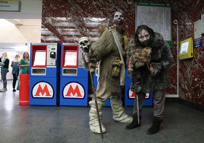 People dressed as Game of Thrones' characters attend the screening of season 7's episode 1 of the Game of Thrones TV series at Mayakovskaya Station of the Moscow Metro, Russia, July 18