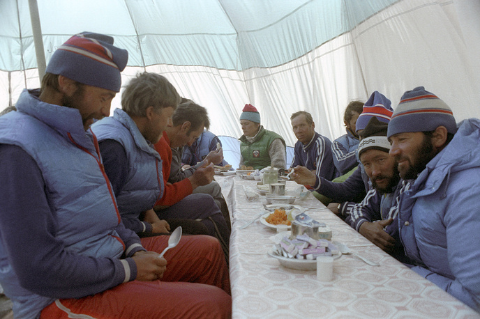 Soviet climbers having breakfast at the base camp in Nepal, 1982
