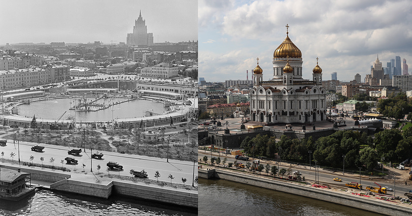 Left: A view of the Moskva swimming pool, 1960  Right: A view of the Cathedral of Christ the Saviour rebuilt on the same site in 1995–2000