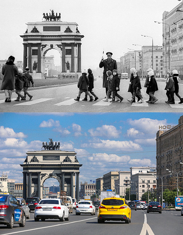 Above: A police officer helps kids to cross Kutuzovsky Avenue in 1968 Below: A view of the Triumphal Arch in Kutuzovsky Avenue, 2017