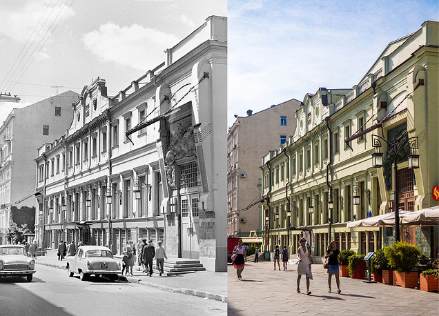 Left: A view of the Gorky Moscow Art Theatre in 1967 Right:  A view of the Chekhov Moscow Art Theatre in Kamergersky Lane, 2017