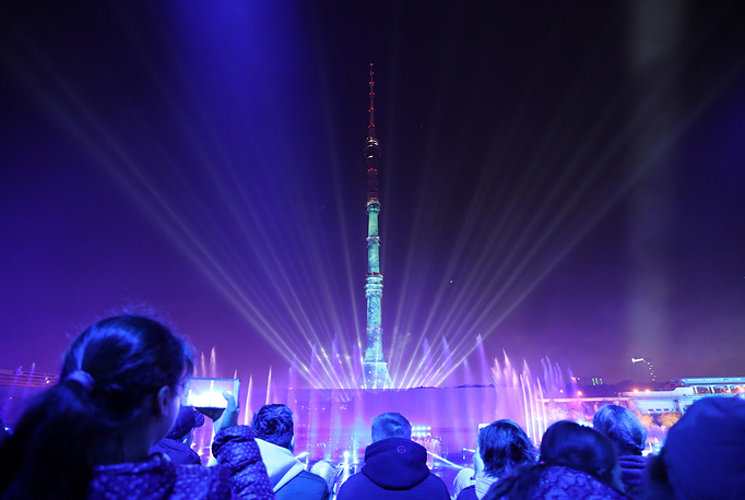 Ostankino TV Tower seen during the 2017 Circle of Light International Festival