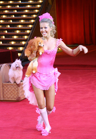 Ksenia Sobchak with poodles on the set of Circus With Celebs Show, 2007