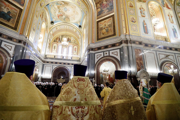 A prayer marking the opening session of the Bishops' Council of the Russian Orthodox Church at the Cathedral of Christ the Saviour, Moscow, Russia, November 29