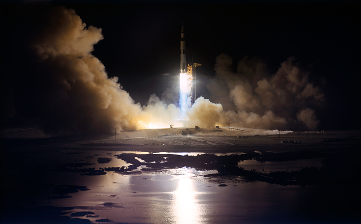 Apollo 17, the final lunar landing mission was launched on December 7, 1972. Apollo 17 was the first night launch of a US human spaceflight and the final manned launch of a Saturn V rocket