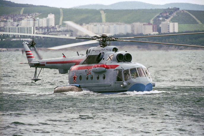Mi-14 shore-based nuclear-capable amphibious anti-submarine helicopter derived from the earlier Mi-8. All Mi-14 helicopters were decommissioned in 1996, but In 2016, Russian Helicopters said that the helicopter's production may be revived