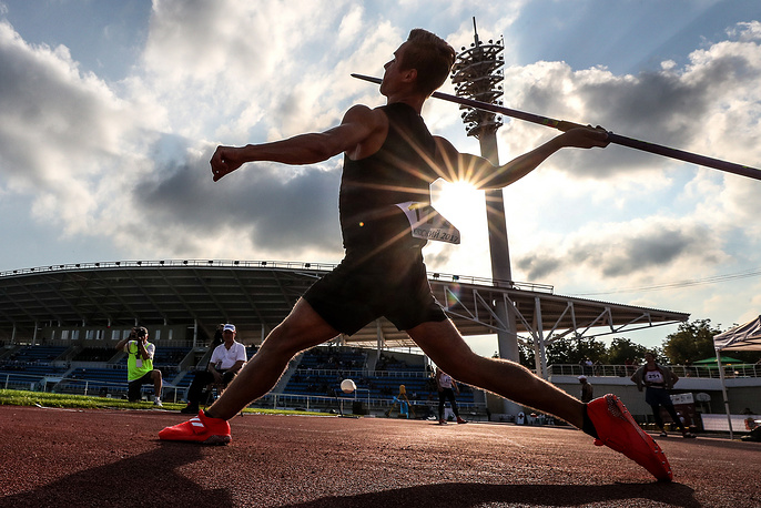 Athlete Yegor Nikolayev competes in a javelin throwing event at the 2017 Russian Championships in Athletics, in the town of Zhukovsky, July 28