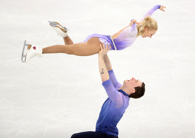 Aljona Savchenko and Bruno Massot of Germany compete in the Pair Free Skating in the Figure Skating competition
