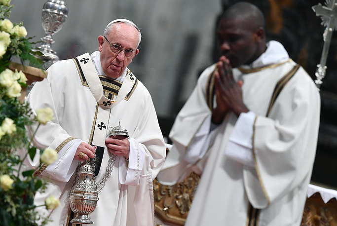 Pope Francis leads the Mass of the Chrism at the Saint Peter's Basilica in the Vatican City. During the mass the Pope blesses Chrism oil which is used for the religious sacraments during this year. The Chrism Mass is part of the Catholic church's rites during the Holy Week