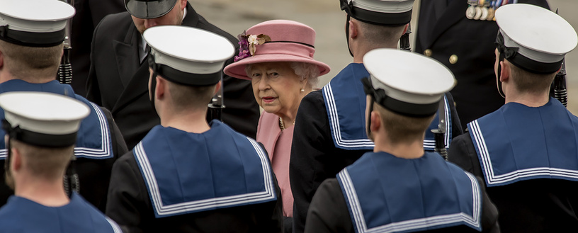 British Queen Elizabeth visits HMS Ocean, Royal Navy's largest operational warship, at THE HM Naval base during its decommissioning at Devonport, Britain, March 27