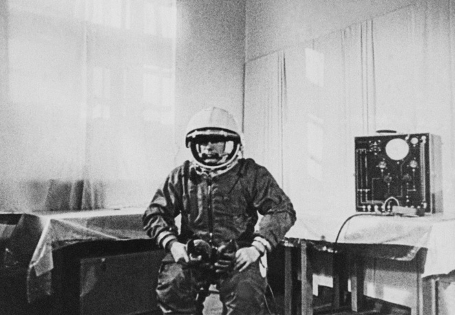 Yuri Gagarin seen during his preparations for the space flight, Baikonur cosmodrome, April 12, 1961