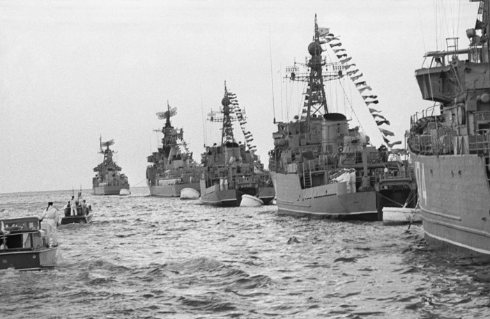 Ships of the Black Sea fleet participate in the USSR Navy Day parade, 1973