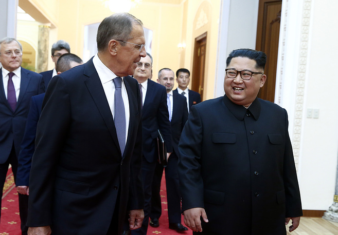 Russia's Foreign Minister Sergey Lavrov and North Korea's Supreme Leader Kim Jong-un seen during a meeting in Pyongyang, May 31
