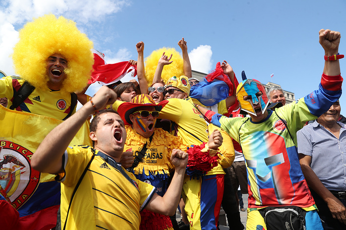 Colombian fans on the eve of the 2018 FIFA World Cup in Moscow