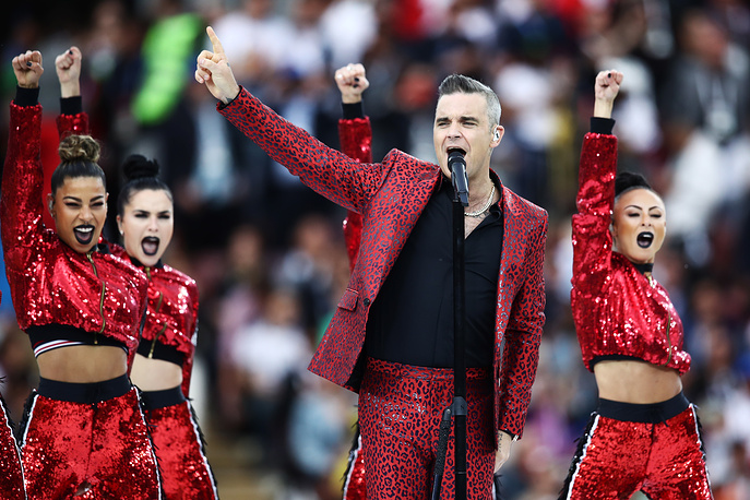 British singer Robbie Williams performs at the opening ceremony of the 2018 FIFA World Cup at Luzhniki Stadium