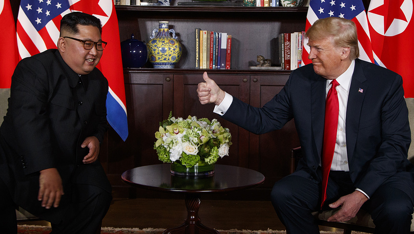 US President Donald Trump meets with North Korean leader Kim Jong Un on Sentosa Island in Singapore, June 12