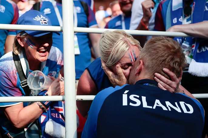 Iceland's manager Heimir Hallgrimsson kisses his wife after their 2018 FIFA World Cup Group D match against Argentina at Spartak Stadium, Moscow. The game ended in a 1:1 draw