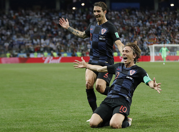 Croatia's Luka Modric celebrates after scoring his side's second goal during the group D match between Argentina and Croatia in Nizhny Novgorod