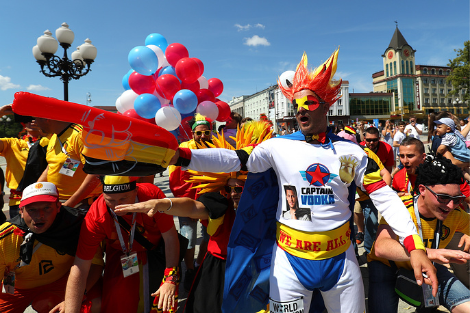 Team Belgium's fans ahead of the Group G football match between England and Belgium in Kaliningrad, June 28