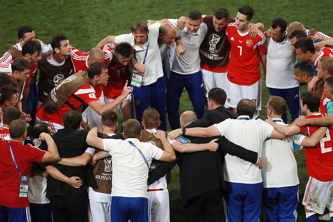 Russia's players seen during a break in the 2018 FIFA World Cup Quarterfinal match against Croatia at Fisht Stadium, July 7. Croatia won the game on penalties 4-3
