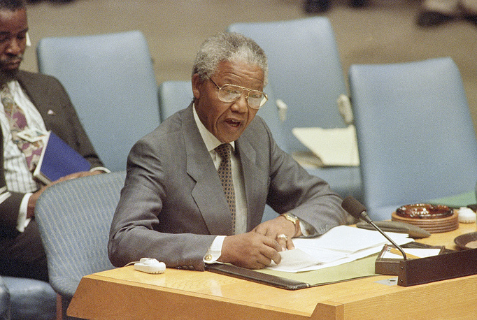 Nelson Mandela, president of the African National Congress, speaks at the United nations, 1992