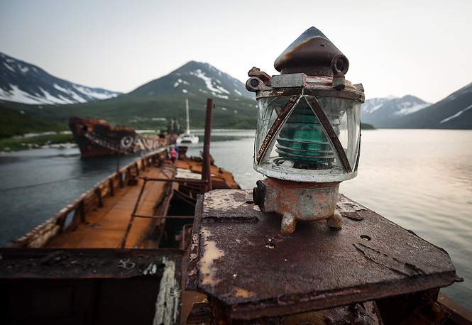 A beacon in the Russkaya Bay of the Avacha Gulf on the south-eastern coast of the Kamchatka Peninsula