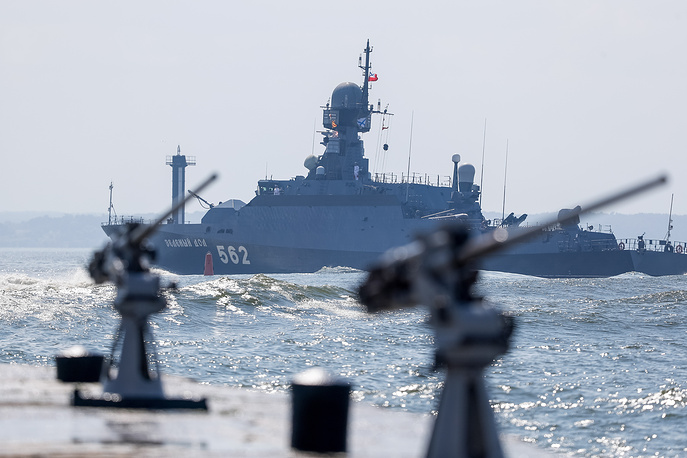 Zelyony Dol small missile ship takes part in the dress rehearsal of a parade marking the Day of the Russian Navy in Kaliningrad