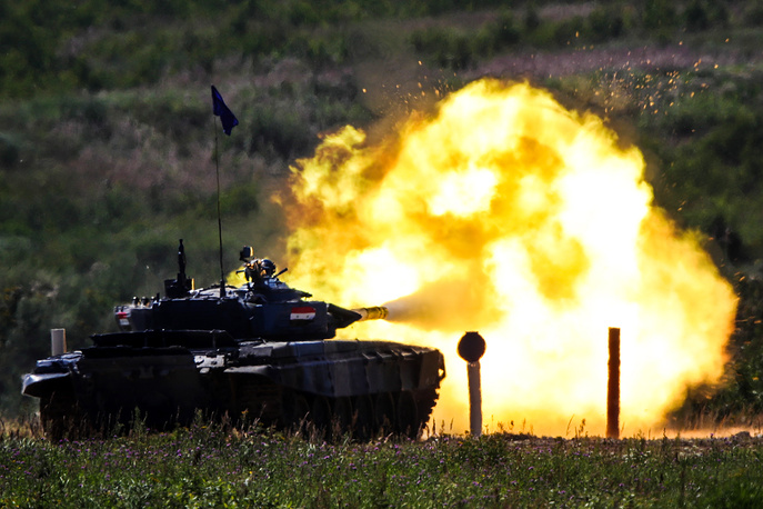 T-72B3 tank of Team Syria fires during an individual race of the Tank Biathlon contest