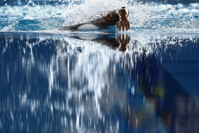 Aflah Fadlan Prawira of Indonesia competes during the men's 800m Freestyle Heats at the 2018 Asian Games in Jakarta, August 20