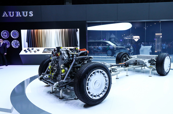 The unveiling of Aurus Senat vehicles at the 2018 Moscow International Motor Show