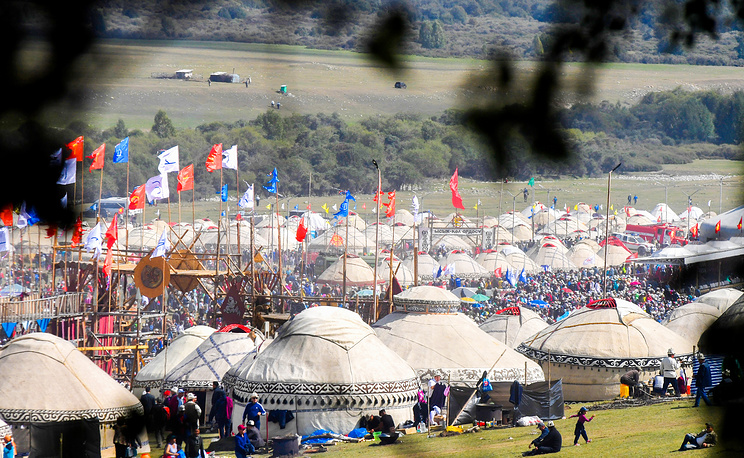 A view of the 2018 World Nomad Games, held at Kyrchyn Gorge, Kyrgyzstan
