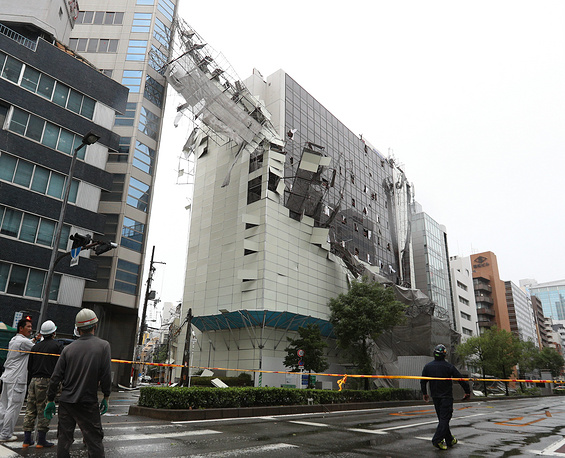 A scaffolding collapsed due to strong winds generated by typhoon Jebi in Osaka, western Japan